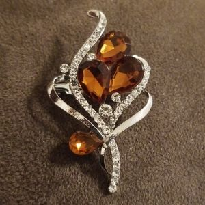 Gorgeous Smokey Brown and Silver Brooch
